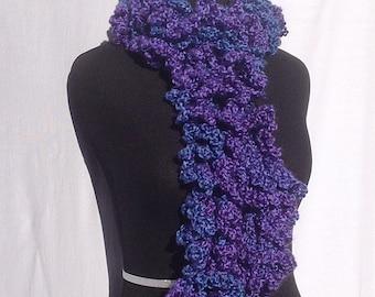 Curly Boa Scarf in Indigo Blue and Purple