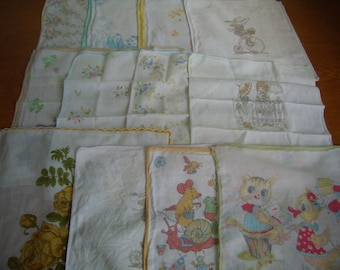 Vintage french set of handkerchiefs for children, set of 12,.