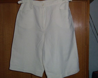 Skirt panties, bermuda, skirt short, woman, lin, off-white, Vintage 1980 size M / 38