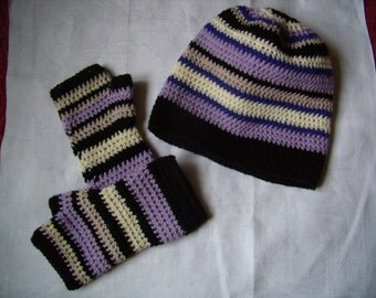 Slouchy, crochet, beanie and Fingerless mittens hand Warmers, sports.