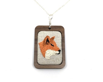 Embroidered Necklace Fox Animal Embroidery Pendant Jewelry Red Fox Embroidery Needlework Pendant