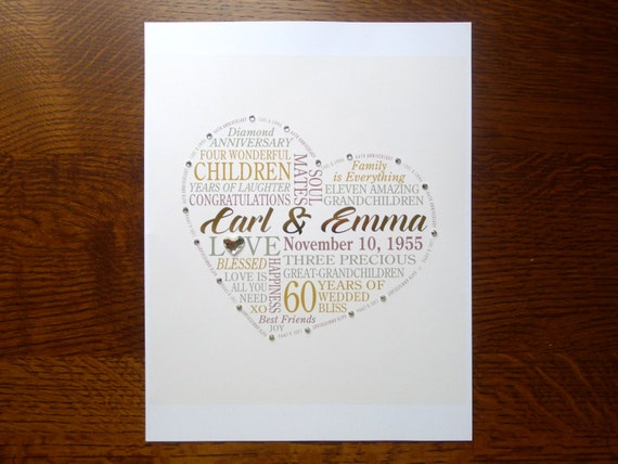 60th Wedding Anniversary Gift Ideas For Parents India : Personalized 60th Anniversary Gift for Parents, Grandparents, Real ...