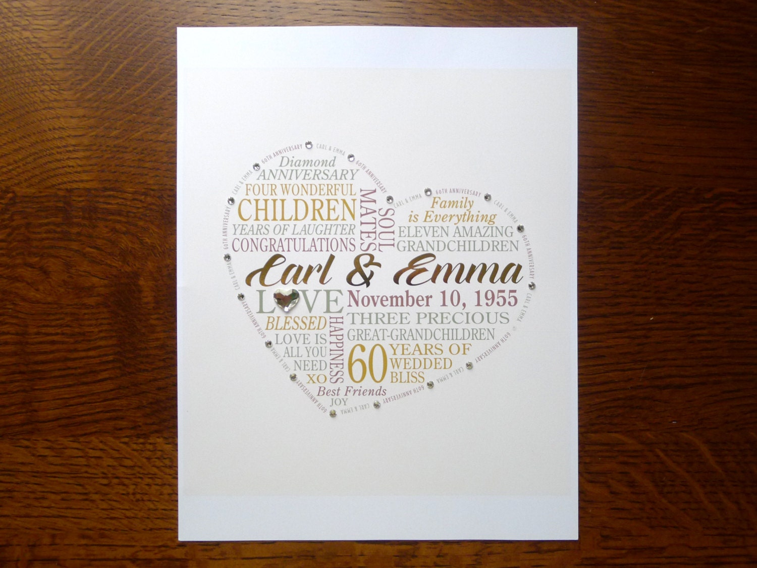 Ideas For 60th Wedding Anniversary Gifts For Parents: Personalized 60th Anniversary Gift For Parents Grandparents