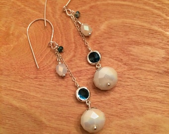 Sterling silver dangling earrings handmade with crystal beads
