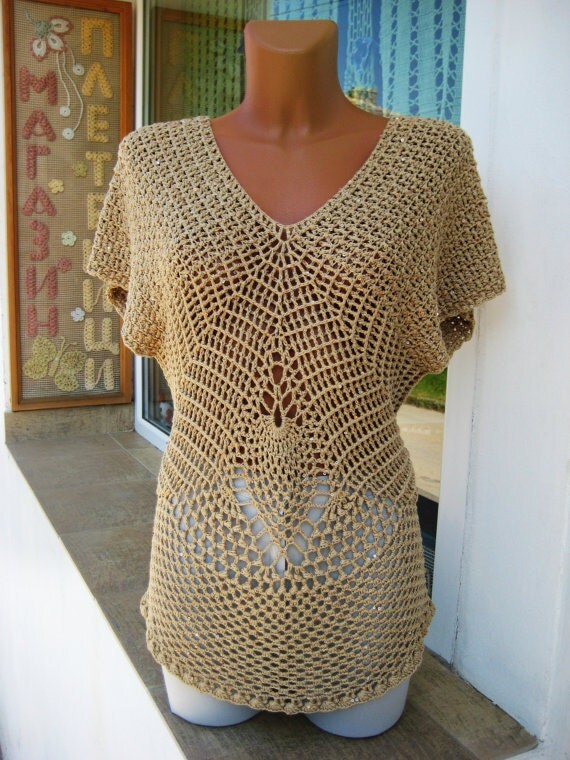 Summer Blouse Knitting Patterns : On sale elegant blouse crochet ladies hand knitted