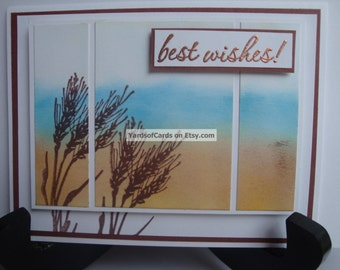 Birthday Triptych Card. Hand Inked and Stamped Beach Scene with Sea Grass.  Dimensional with Raised Image and Sentiment.  Sea and Sand.