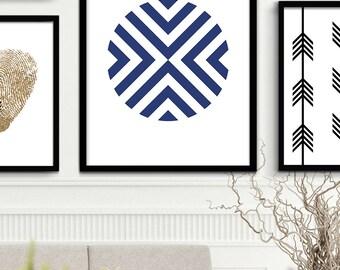 Printable Navy Art, Navy Chevron Print, Navy Blue Modern Geometric Wall Art, Chevron Design, Indigo Blue Minimalist Art Print