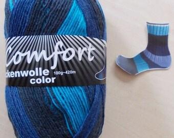 sock yarn 100g (6,-Euro/100g), blue-turquoise, 4ply (1016.07)