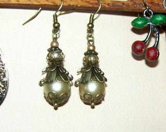 Antique Pearl Earrings - SALE - Dangle Drop - Victorian Bronze Flower Petal Drop - Antiqued Bronze - Antiqued Brass