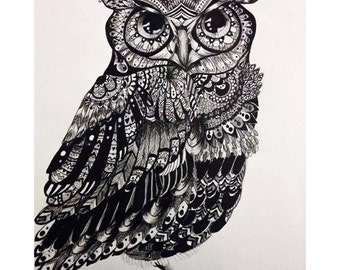 Owl Drawing {Ink & Charcoal} 9x12 Art
