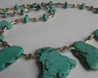 Gemstones Necklace. Turquoise Colour Howlite  Beads Necklace. Lenght 50 cm.