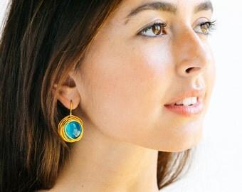 Turquoise dangle earrings, round earrings, statement earrings, gold wrapped earrings, wedding earrings, bridesmaid earrings, lightweight.
