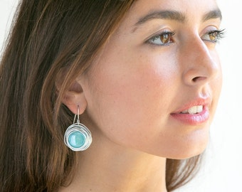 Turquoise round earrings, dangle earrings, short earrings, silver wrapped earrings, statement earrings,  charm earrings lightweight earrings