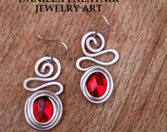 Red Beads Earrings, Wrapped Dangle Earrings, Lightweight Earrings, Spiral Earrings, Hypoallergenic Earrings, Bohemian Earrings, Hammered.