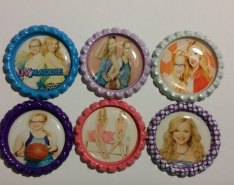 Set of 6 Liv and Maddie themed Finished Bottle Caps - Magnets - Necklaces