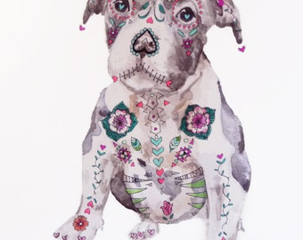 Sugar Skull Pit Bull Puppy: Mixed media dia de los muertos