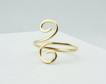 14k Gold Filled Swirl Ring, Adjustable and Comfortable, Sleep in Me