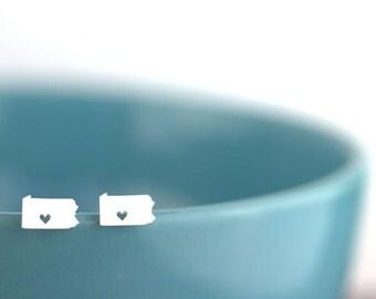 Pennsylvania Earrings, I heart Pennsylvania, Pennsylvania outline, State silhouette jewelry
