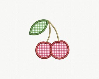 Cherry Applique Machine Embroidery Design - 2 Sizes
