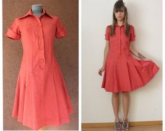 1940's Handmade  Red Cotton Dress -  40's Red Dress– Size S