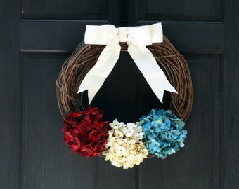 Rustic Patriotic Wreath, Patriotic Grapevine Wreath for 4th of July, Wreath for Front Door Decor, Front Door Wreath, Summer Wreath for Door