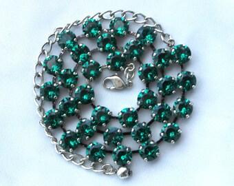 May Birthstone Necklace - 8mm Green Emerald Swarovski Crystal Necklace