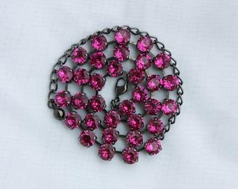 Fuchsia Pink 8mm Swarovski Crystal Necklace