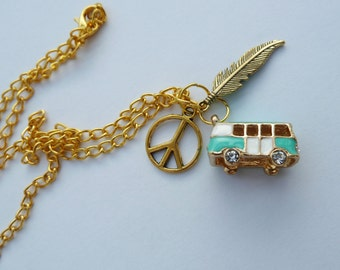 Peace, camper van/bus & feather boho necklace