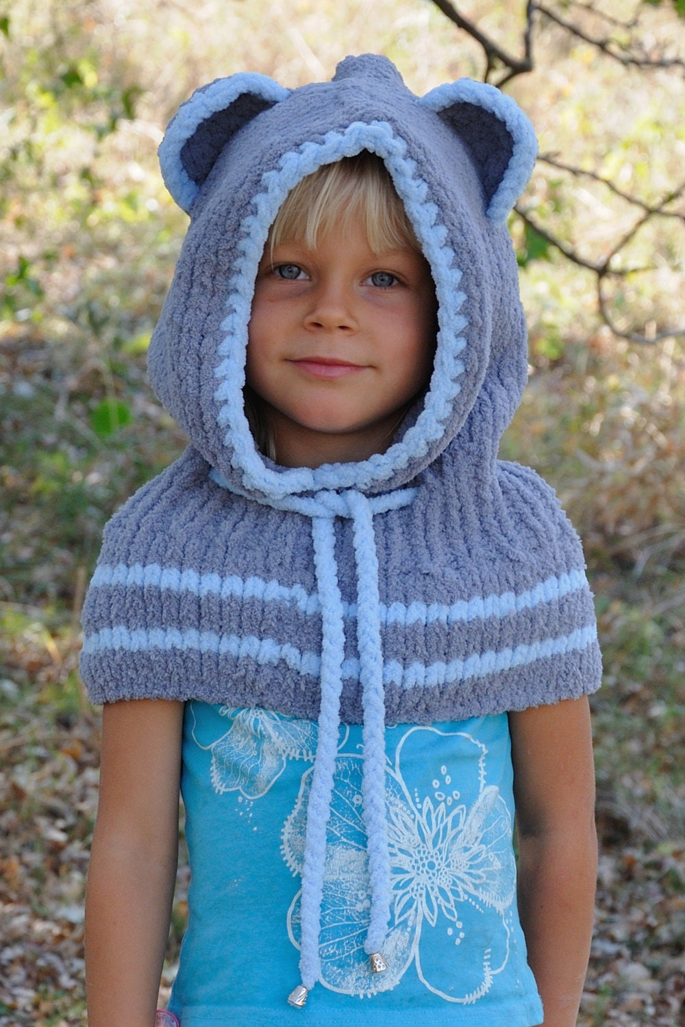 Knitting Pattern Bear Hoodie : Knit Kids Bear Hood Knit Bear Cowl Animal hat ear by ...