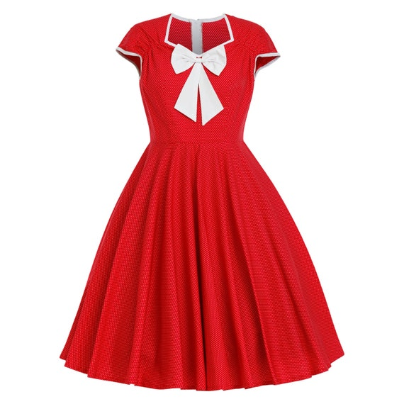Red christmas dress retro dress vintage style dress pinup dress