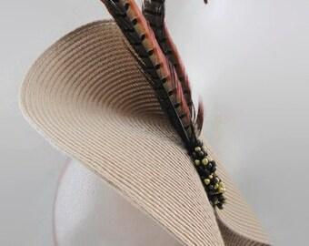 taupe fascinator, grey fascinator, feather fascinator, beige fascinator, grey sun hat, grey feather hat, grey wedding hat, gold fascinator