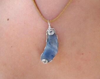 Blue Quartz Swirly Crescent Moon Wire Wrapped Pendant