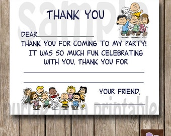 Instant Download - Charlie Brown Snoopy Thank you - fill in flat card - Print at Home