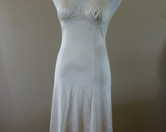Vintage Ivory/Cream Nylon Full Slip with Lace Trim Size 32 by French Maid Lingerie - BT-426