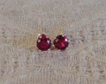Ruby 4mm Studs, Red Ruby Stud Earrings, Ruby Earrings, Tiny Ruby Posts, Ruby Post Earrings, Red Rubies, July Birthstone, Lab Created Ruby