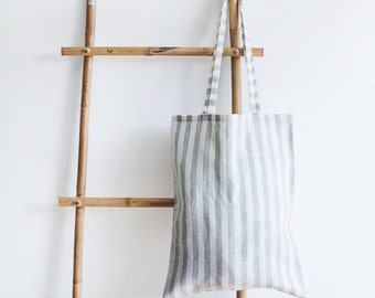 Striped Linen Tote Bag / Natural Linen Bag / Tote Bag