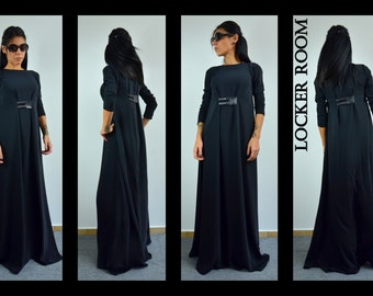 Woman Long dress / Black maxi dress / Elegant oversize dress / Long sleeves dress