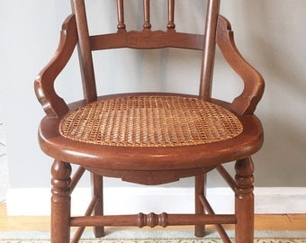 Victorian East Lake Cane Parlor Dining Chair