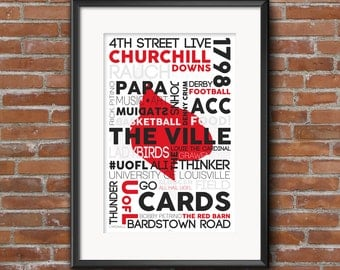 University of Louisville, UofL, Louisville Cardinals -- 11x17 Typography Poster