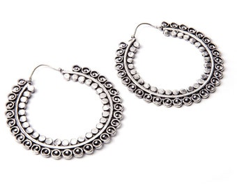White Brass Big Hoop Earrings Tribal Earrings Mandala Jewellery Free UK Delivery WBH1