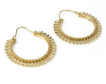 Brass Tribal Hoop  Earrings Gypsy Earrings Mandala Jewellery Ethnic Inspired Jewelry Free UK Delivery Gift Boxed BG3