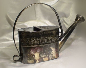 Metal watering can, watering jug, galvanized watering can, home decor, garden decor, collectibles, decoupage, vintage