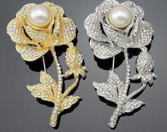 Rose Rhinestone Brooch Pearl Crystal Brooch Bridal Brooch Bouquet Wedding Cake decoration Hair Comb Shoe Clip DIY Supply