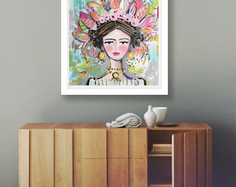 Woman Print portrait impressionist modern abstract girl print paper or canvas