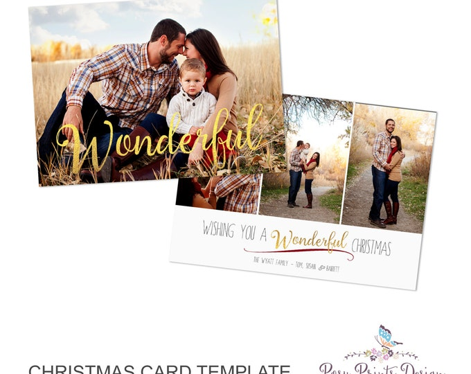 Christmas Card Template - 5x7 Photo Card - Photoshop Template - INSTANT DOWNLOAD or Printable - CC26