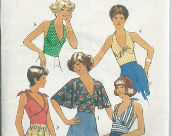 Sun Top With Halter Neck Option - Style Pattern 1591 - 1976 - Uncut Pattern