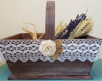 Rustic flower girl basket, wedding basket,bridal basket, wedding favours basket