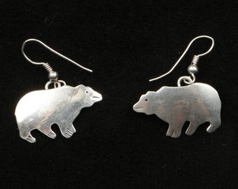 """Vintage 1970's or Earlier Sterling Bear Silhouette Wire Earrings, the Bears are 1"""" long by 5/8"""" High, Marked H B on Back, Great Condition"""