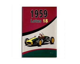 "Magnet: 1959 Lotus 18 race car original illustration, 2 1/8"" x 3 1/8"""