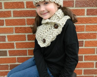Oatmeal Girls Scarf, Girls Crochet Scarf and Headband, Handmade Kids Scarf Set